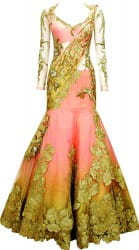 beautiful peach style gown
