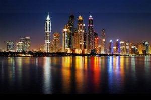 Eco-friendly-3D-mural-enorme-da-cidade-de-Dubai-vista-nigh-fundo-para-sof&aacute