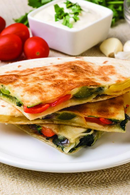 Spinach and Corn Quesadillas
