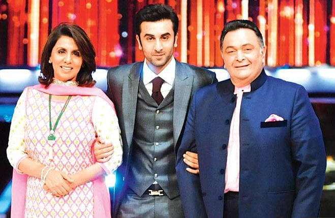 Ranbir Kapoor with parents Rishi Kapoor, Neetu Kapoor