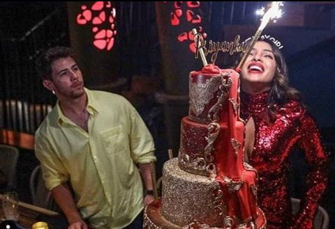 Priyanka Chopra's Red And Gold Birthday Cake