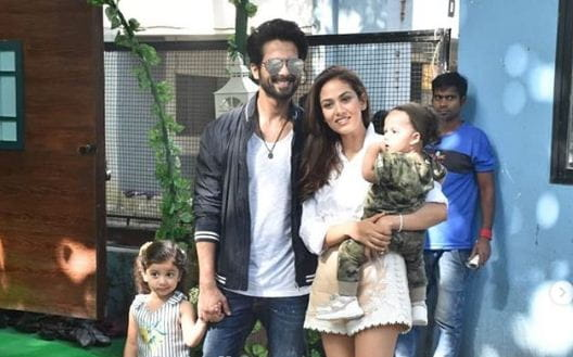 Shahid Kapoor and Mira Rajput with kids