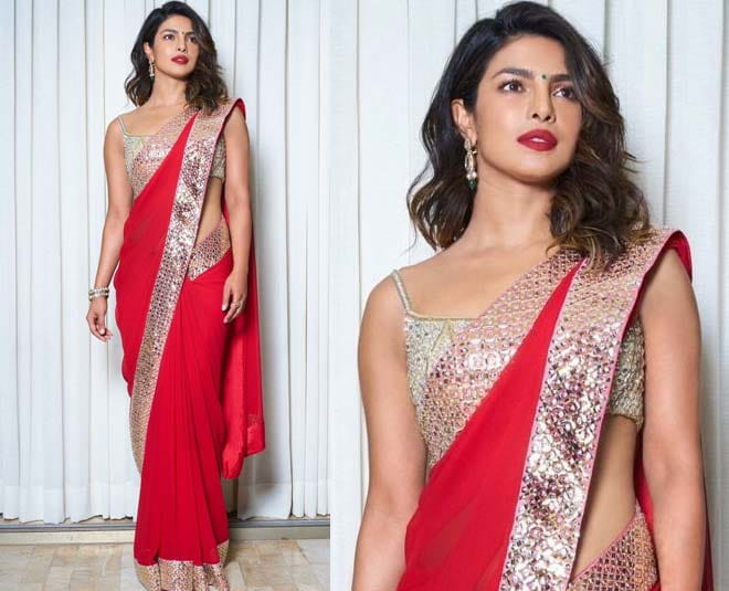 Priyanka Chopra in Red Saree