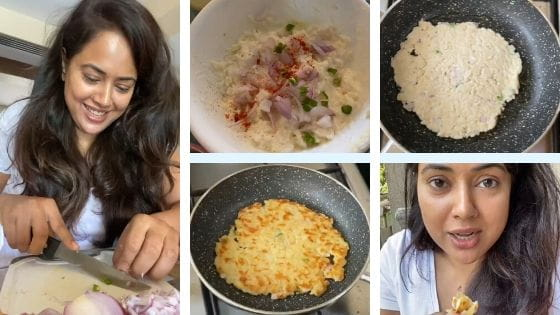 Actress Sameera Reddy Made Rice Rotla Recipe With Leftover Rice