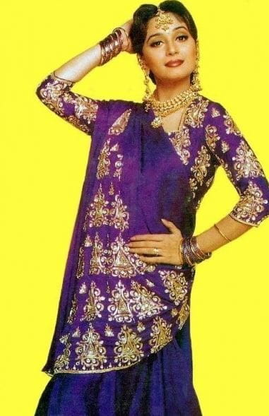 Madhuri Dixit - Purple Saree-Film Maine Pyar Kiya Famous Clothes