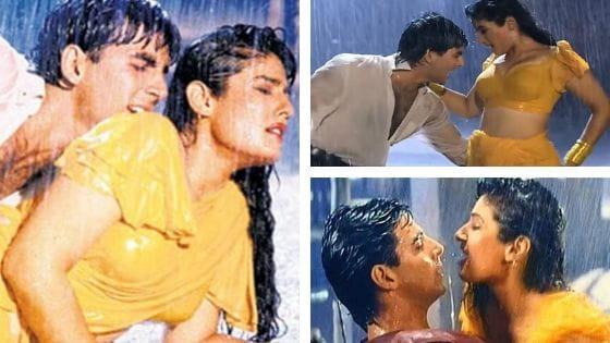 Raveena Tandon shooting Tip Tip Barsa Paani with Akshay Kumar