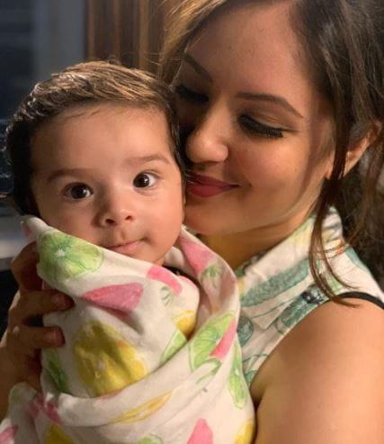 Pooja Banerjee with Son
