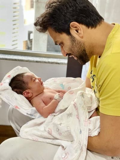 Naman Shaw With His New Born Baby
